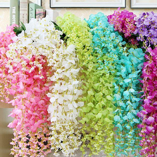 12pcs/set 110cm Artificial Vine Flowers Silk Fake Wisteria Ivy Vine Garden Hanging Flower Plant Simulation Vine Wedding Decor C18112601