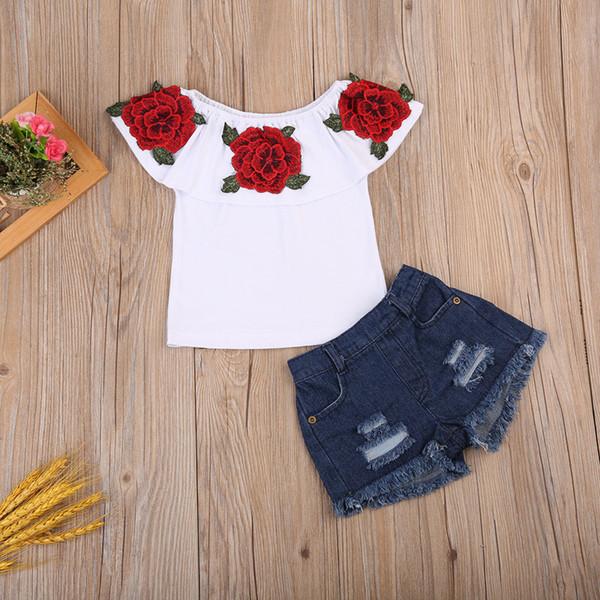 2 unids / lote Moda niños niñas flor color de rosa de manga corta superior pantalones vaqueros cortos conjunto de verano traje de los niños traje