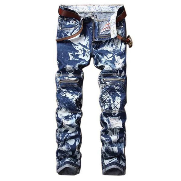 Mens Jeans Camo Blue Printing Slim Fit Distressed Ripped Pants Biker Motorcycle Zipper Jeans Skinny Hip Pop Straight Tousers