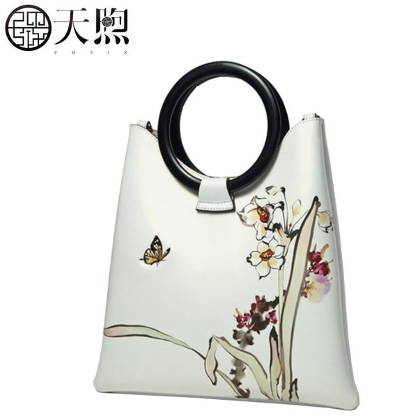 2019 new pmsix women genuine leather bag superior cowhide fashion printing women bag luxury leather shoulder women's