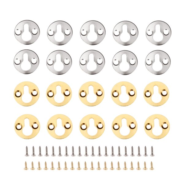 Home Improvement DRELD 10Pcs Round Hanging Picture Oil Painting Mirror Frame Hooks Hangers With Screws Gold/SilverFurniture Hardware 25mm