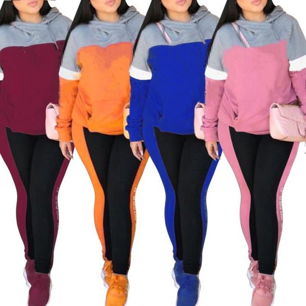 e781413da Womens sportswear long sleeve outfits two piece set jogging sport suit  sweatshirt tights sport suit women