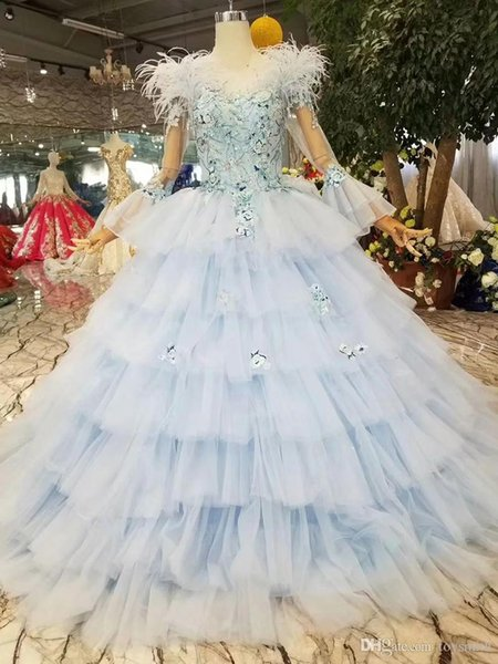 light blue evening dresses cake style o-neck long flare sleeves lace up back feather party dress girls pageant dress 2019