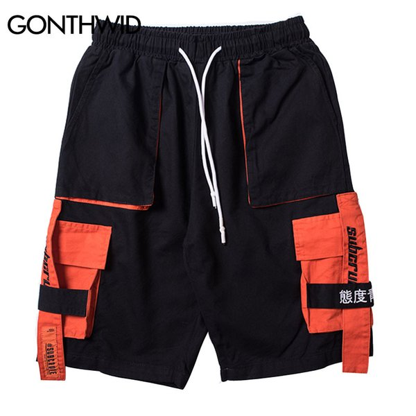 GONTHWID Side Ribbon Multi Pockets Cargo Shorts Mens Casual Summer Hip Hop Baggy Streetwear Shorts Male Joggers Short Trousers