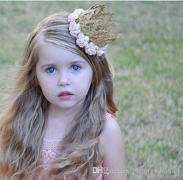 Encaje 3D Rose Flower Crown Tiaras Diadema Hairband Infantil bebé Niñas Accesorios para el cabello Niños Princesa Head bandas