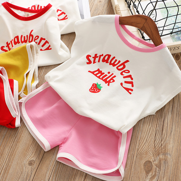 Baby's Leisure Suit 2019 Summer Dress New Girl's Dress Children's Cartoon Printed T-shirt Hot Trousers Teenage Girls Clothing