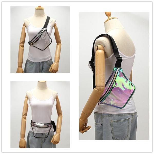 2019 Tidal Women Laser Waistpack Clear Waist Bags Pu Rainbow Chest Bag Waterproof Outdoor Beach Bag Crossbody Shoulder Bags Storage Pouch A4