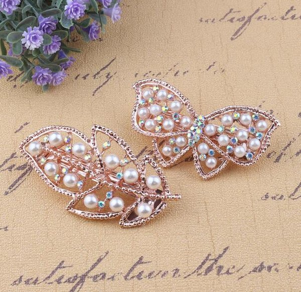 Free Ship 2pcs/lot Peacock Leaf Butterfly Hairpin Hair Accessories Hair Clips Pearl Rhinestone Crystal High Quality Girlfriend Gift
