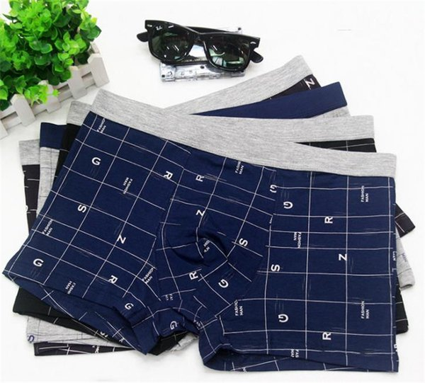 Letter Print Mens Designer Underpants Fashion Plus Size Plaid Panelled Breathable Mens Boxer Shorts Casual Underwear Males Clothing