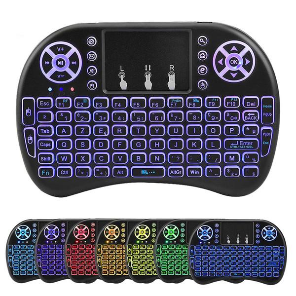 Hintergrundbeleuchtung i8 Mini Wireless Keyboard 2,4 g 7 Farben Air Mouse mit Touchpad-Fernbedienung für PC Office Smart TV