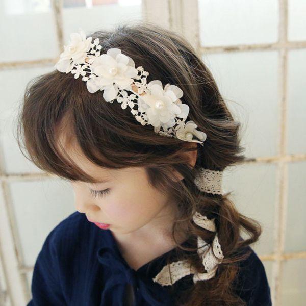 Korean Fashion Süße Prinzessin Stirnband Lange Spitze Band Blume Haarbänder Kranz Mädchen Headwear Kinder Haarschmuck