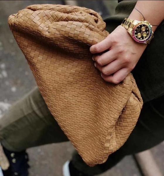 2pcs Set nuage forme aimant tricot dames soir Sacs d'embrayage femmes Pochette 2019 nouvelles filles main en cuir véritable de mode Sac à main Big 38cm
