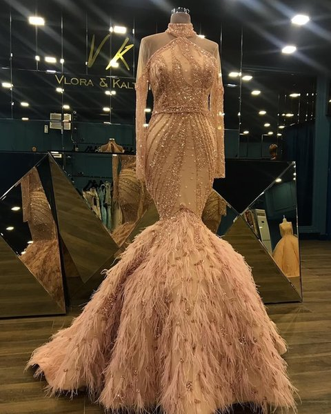 Champagne Luxury Evening Dresses With Feather Beaded Sequins High Neck Tulle Mermaid Prom Dress Sweep Train Long Sleeve Zuhair Murad Gowns
