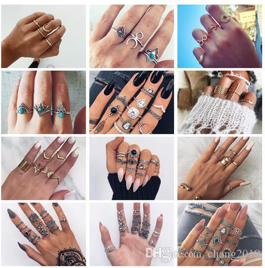 20 styles Vintage Big Stone Midi Ring Set For Women Boho Antique Silver Color Heart Flower Knuckle Rings Boho Jewelry Anillos Gift ALXX