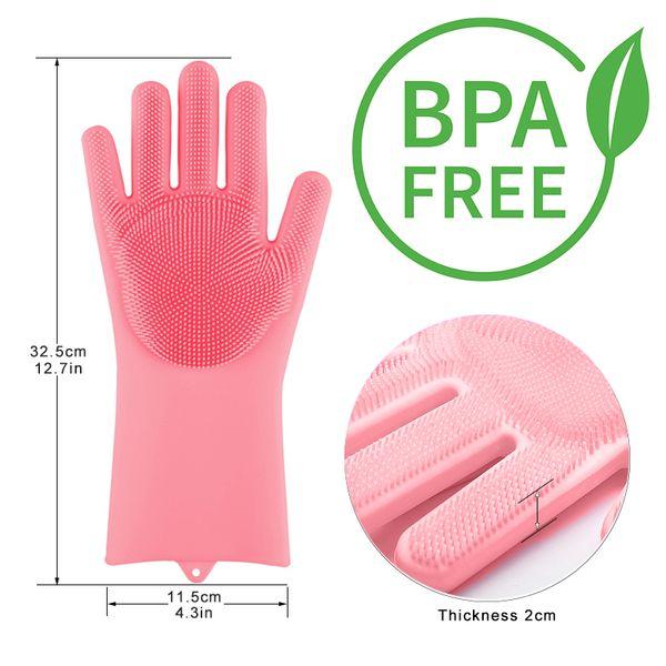 Магия Силиконовые посудомоечных перчатки Кухонные принадлежности для мытья посуды Перчатки бытовые Инструменты для чистки автомобиля Pet Brush 1 пара