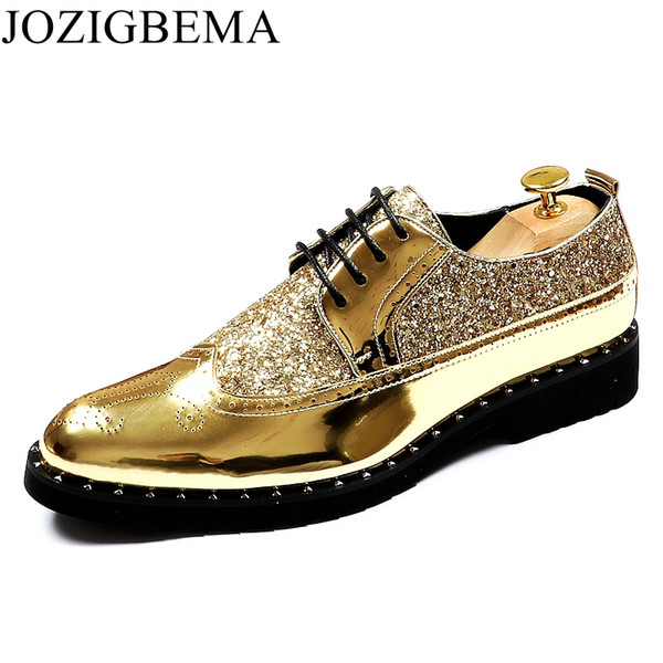 JOZIGBEMA casuale di nuovo modo Mens Dress Shoes Patent Oro leatherr stilista di scarpe da sposa in pizzo-up italiana piatto formali Oxfords