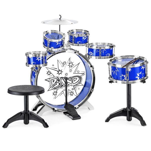 top popular 11-Piece Kids Beginner Drum Percussion Musical Instrument Toy Set 2021