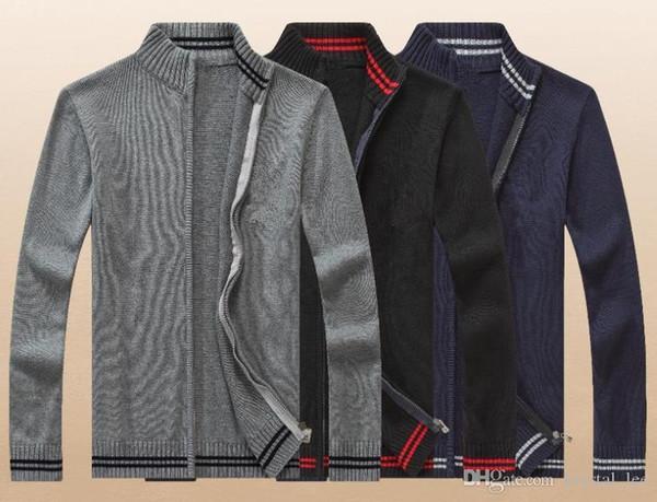 Einfarbig Zipper Cardigan Hoher Kragen Polo Baumwolle Pullover Sweatshirt Knit Shirt Mode Freizeit moletom masculino Arbeit Festliche Kleidung WNS801