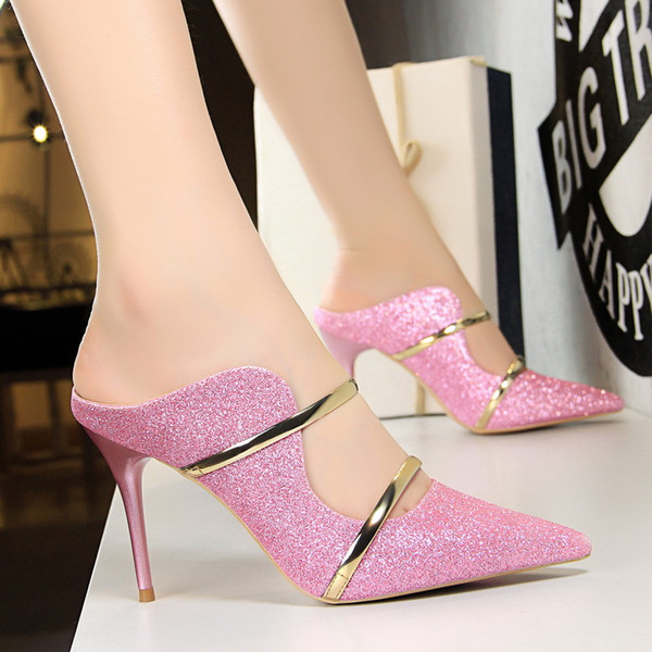 2009 New Fashion Sexy Night Club Women's Shoes Fine-heeled High-heeled Sequins Summer Sandals and Slippers