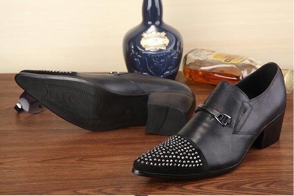 Luxury Men Party Dress Shoes Breathable Fashion Wedding Casual Shoes Patent Leather Male Flats Rivets Tassel Shoe H266