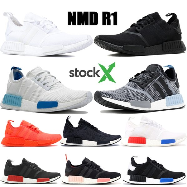2019 Best New NMD R1 Primeknit Triple Black White Glitch Pack Clear Blue Running Shoes Mens Womens Cheap Tri Color Kanye Sneakers With StockX Tag From