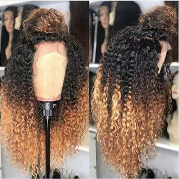 Ombre Blonde кудрявого Фигурный шелковый полные парики шнурка с натуральными волосками 100% Необработанных человеческих волосы Париков отбеленных Сучками фронта шнурок