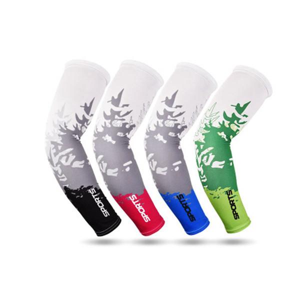 8 Farben Cooling Arm Sleeves Cover Ellbogenschutz Outdoor Sports Reiten Radfahren UV-Schutz Ärmel Atmungsaktiv Armwärmer ZZA1002