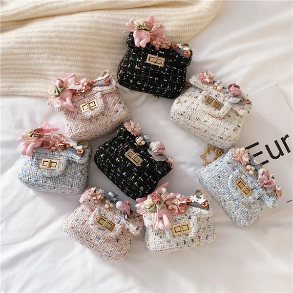 INS neonate principessa Mini Borse Moda Fiori coniglio bottone in metallo catena bambini borsa del cambiamento dei bambini Fashion Messenger Bag
