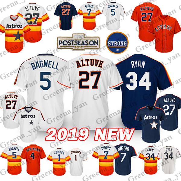 Houston Astros Baseball-Trikot 27 Jose Altuve 4 George Springer 1 Carlos Correa 34 Nolan Ryan 7 Craig Biggio Baseball-Trikots Erwachsene