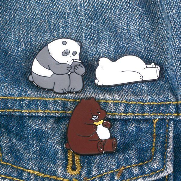 Naked Bear Brooch Brown Bear Panda Polar Bear Cartoon Medal Brooch wholesale