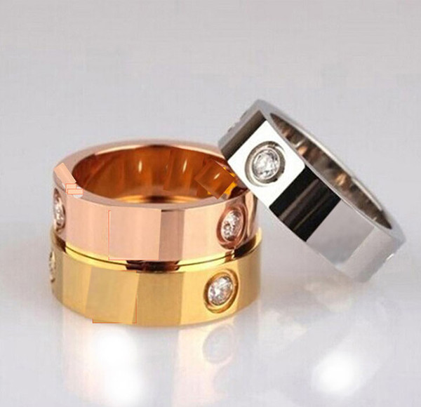 Titanium steel with diamond couple ring male and female couple cubic zirconia wedding ring with box engagement ring