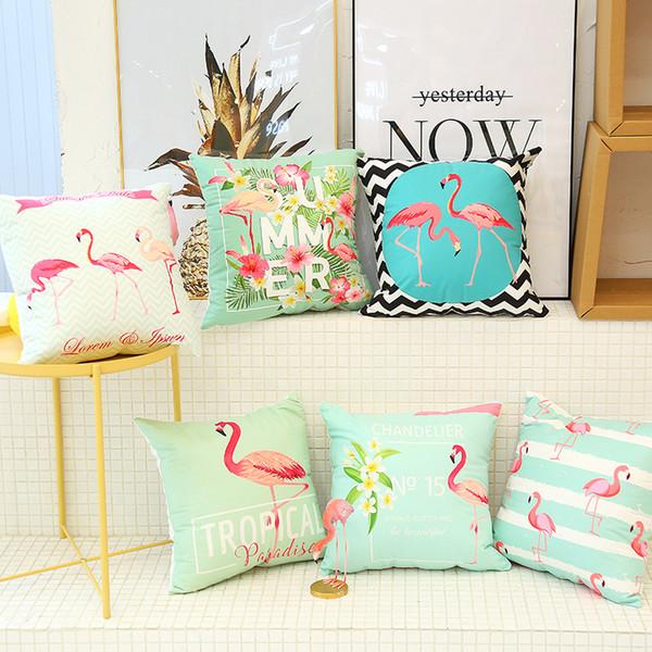 120pcs Hot Sale Flamingo Cushion Covers Throw Pillow Case Palm Leaf Decorative Pillow Case Car sofa Home Decor 40 Designs