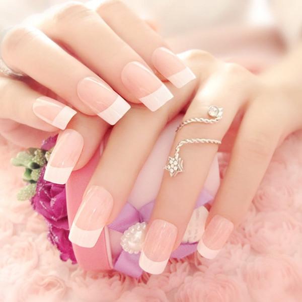 24 piezas / set parche de cubierta completa puntas de uñas terminadas Nails falso francés Art Piece Nail falso producto terminado