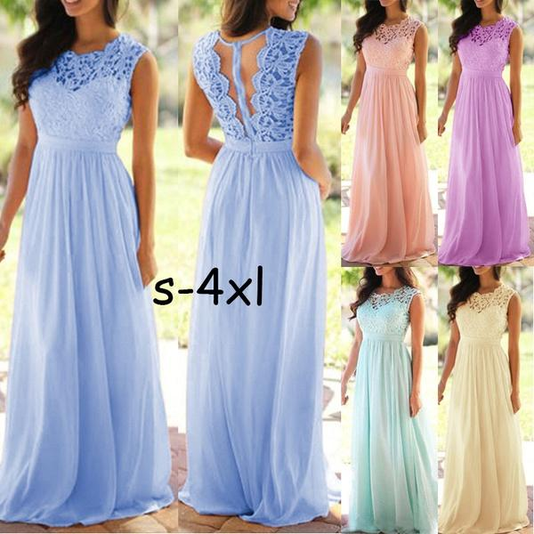 Plus Size Women Dress Lace Chiffon Wedding Bridesmaid Dress Elegant Prom Long Dress