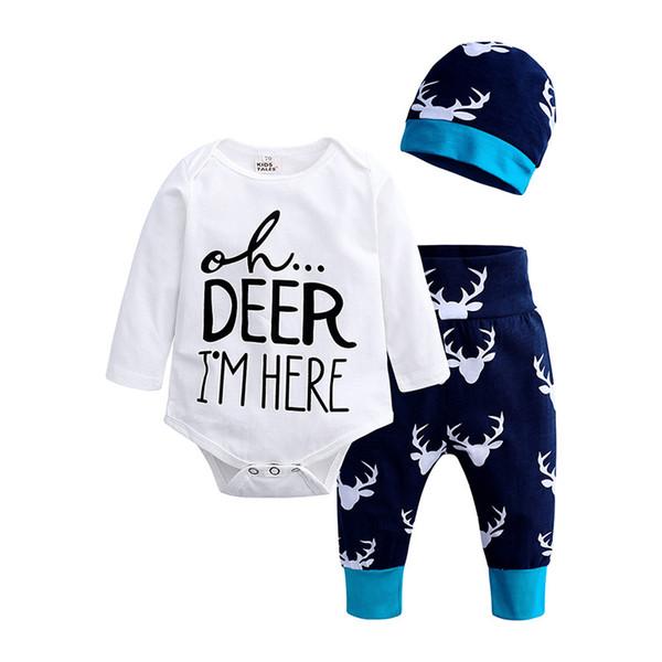 Pantalones de Navidad Conjunto Boy 0-24 M 3 piezas recién nacidos los bebés camiseta de algodón Romper las polainas de Conjuntos de ropa