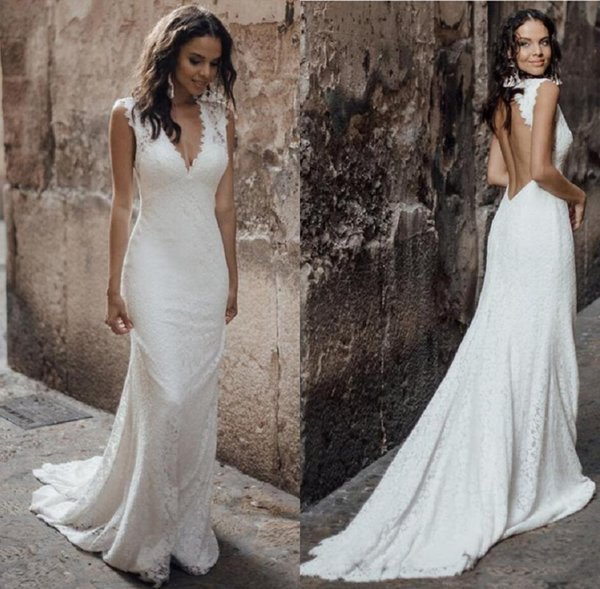 Elegant Deep V Neck Lace Mermaid Wedding Dresses 2020 Hollow Back Backless Sweep Train Wedding Bridal Gowns