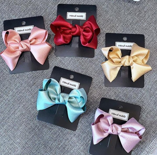 Princess HairBows Solid Color Boutique Bows Hair Accessories Gift For Back to School cheer bow Ribbon Bow Free Shipping