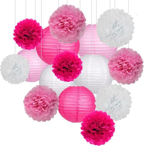 15 Teile / satz Papier Blumenkugeln Poms Papier Wabenkugeln Papierlaternen Geburtstagsfeier Hochzeit Baby Shower Home Decoration Supplies