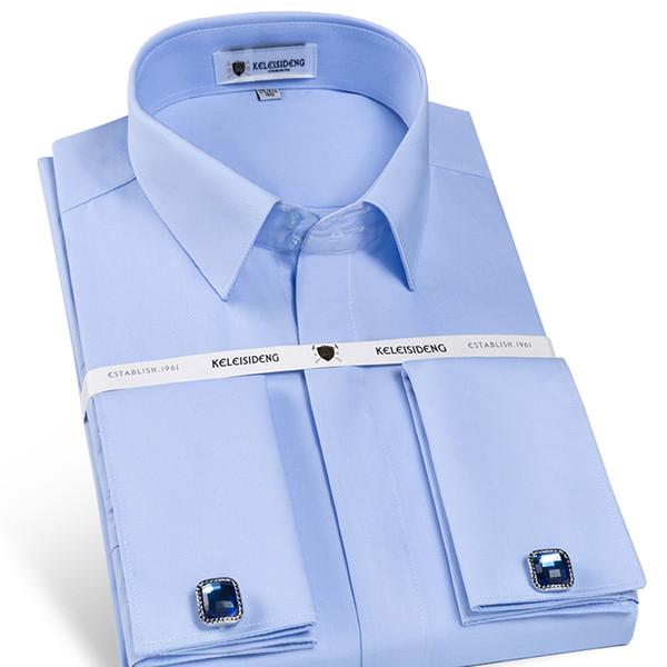 Camisa de vestir sin mangas de corte slim para hombre, sin hierro, para hombre Camisa de manga larga con tapeta cubierta Suave y elegante Camisas de esmoquin (gemelos incluidos) Q190330