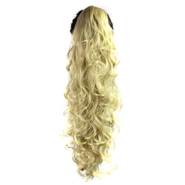 65 cm de largo pelucas onduladas Clip-in garra de garra rizada Clip de cola de caballo en extensiones de cabello peluca ondulada sintética temperatura de alta densidad