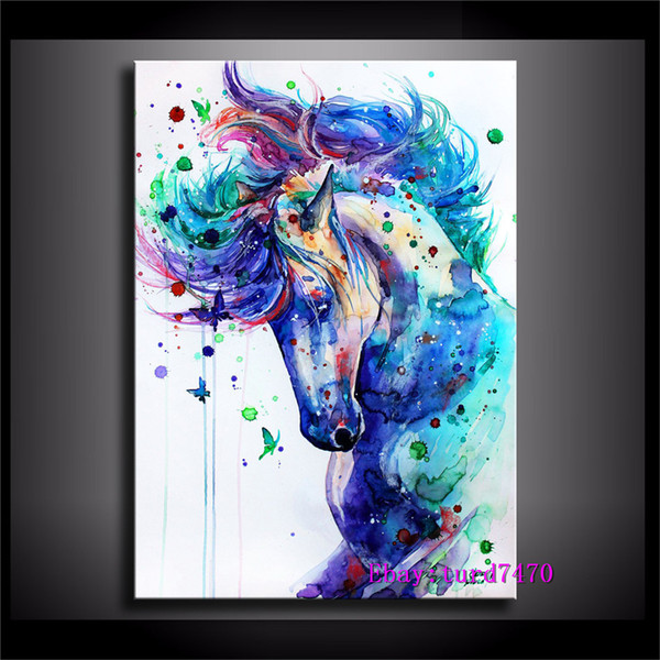 Horse Color,1 Pieces Canvas Prints Wall Art Oil Painting Home Decor (Unframed/Framed) 16x24.