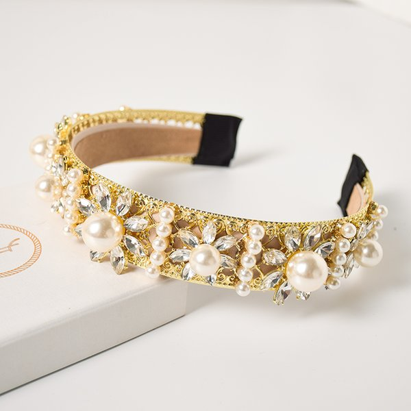 Neue Heiße Barock Royal Court Stil Mosaik Perle Gold Blume Stirnband Breite Haarband Haarschmuck Schmuck Für Frauen