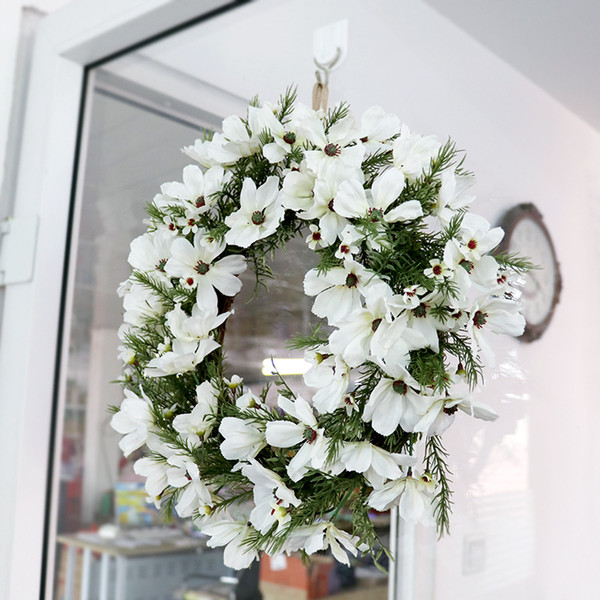 Christmas Wreath Artificial Plant Rattan Circle Wall Wedding Decoration Simulation Fake Flowers Garland Door Hanging For Home