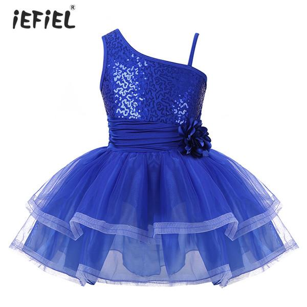 iEFiEL Girls One-Shoulder Tutu Ballet Dress Gymnastics Leotards for Girls Ballerina Dancewear Sequins Ballet Costume Dance Dress