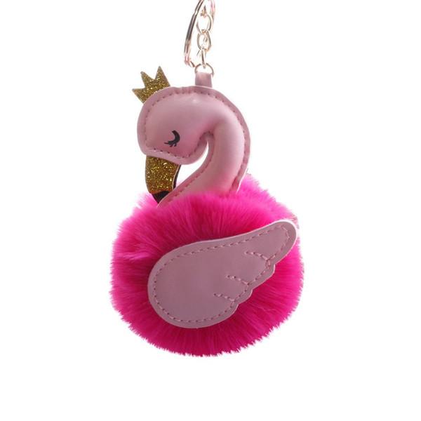 Catena chiave delle donne della moda Corona Swan Faux Fur Ball Portachiavi Donna Portachiavi Auto Portachiavi Hanging Decor Regali per la femmina di compleanno