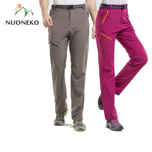NUONEKO Nylon Ultra-Thin Stretch Hiking Pants Men Women's Quick Dry Outdoor Sport Pants Camping Trekking Climbing Trousers PN36