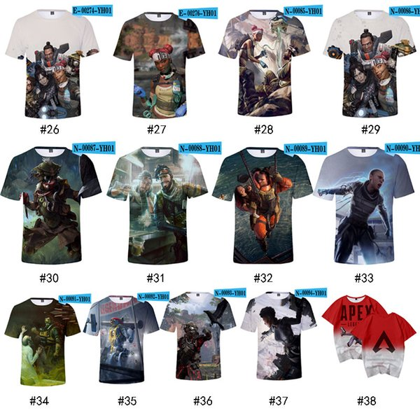 3D Apex Legends T-Shirts Gaming Tee Round Neck Casual Tops for Kids Boys Short Sleeve 37 Colors Summer Childrens'day Gift