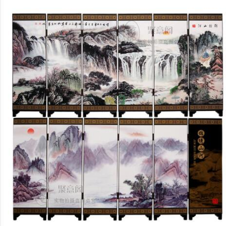 Antique small screen Jinling twelve hairpins Chinese style lacquer painting crafts, gifts to each other.