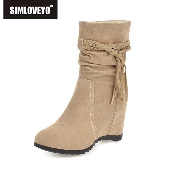 SIMLOVEYO Größe 34-43 Schnee Stiefeletten Frauen warme Fransen Keil Höhe erhöhen Schuhe Winter süße Fliege Casual Schuhe Bottes