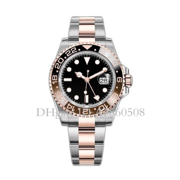Top para hombre Reloj GMT Trabajo Rosegold Rol 40 mm Movimiento automático Mecánico Acero inoxidable Cerámica Bisel Relojes de lujo Zafiro Montre de luxe